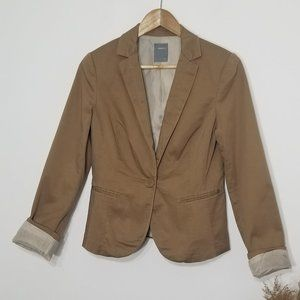 Smart Set | Tan Button Blazer Stretch Blend Size 6